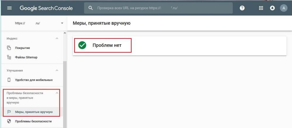 Вебмастер Google меры принятые вручную